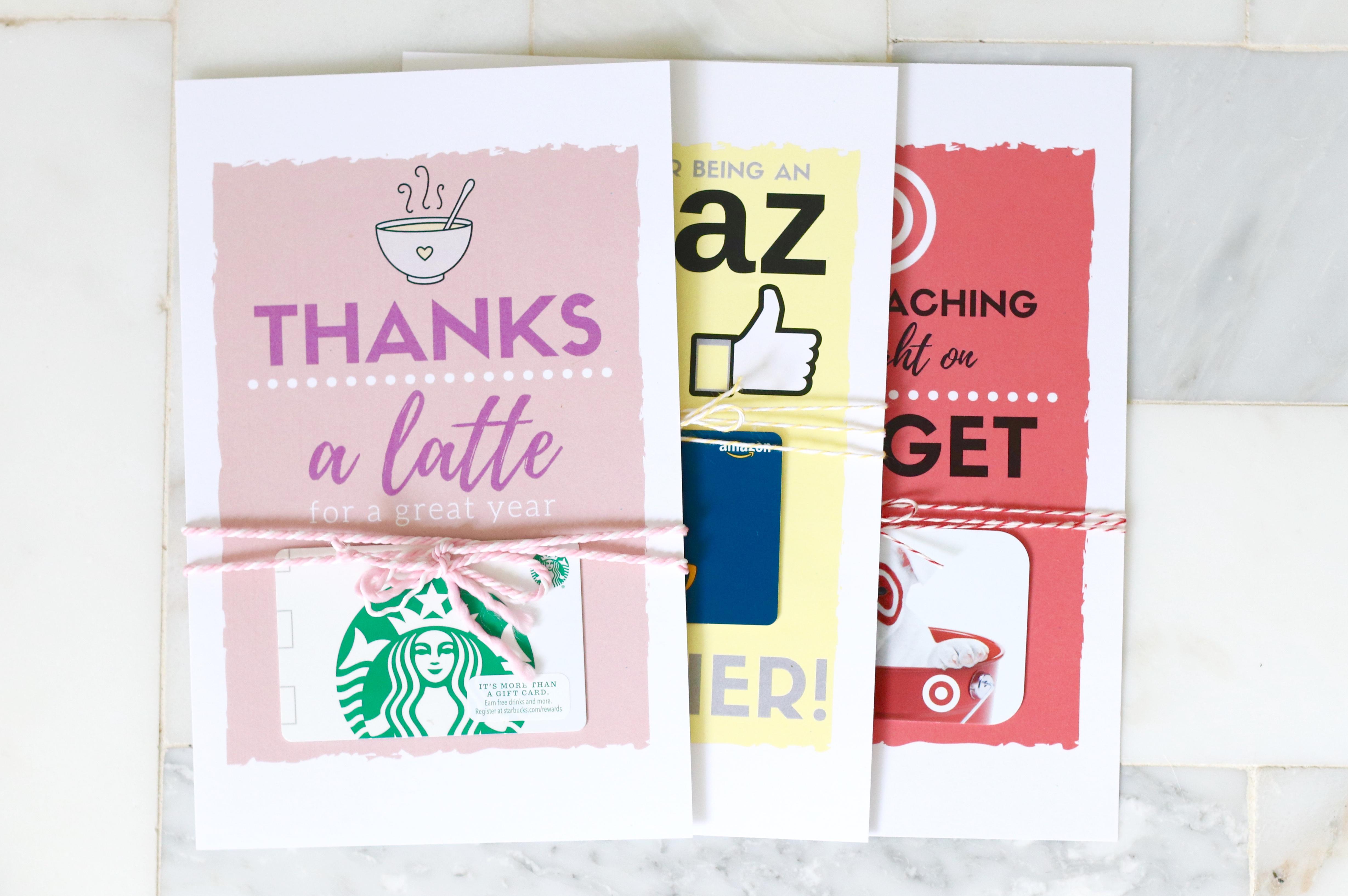 teacher gift card printables
