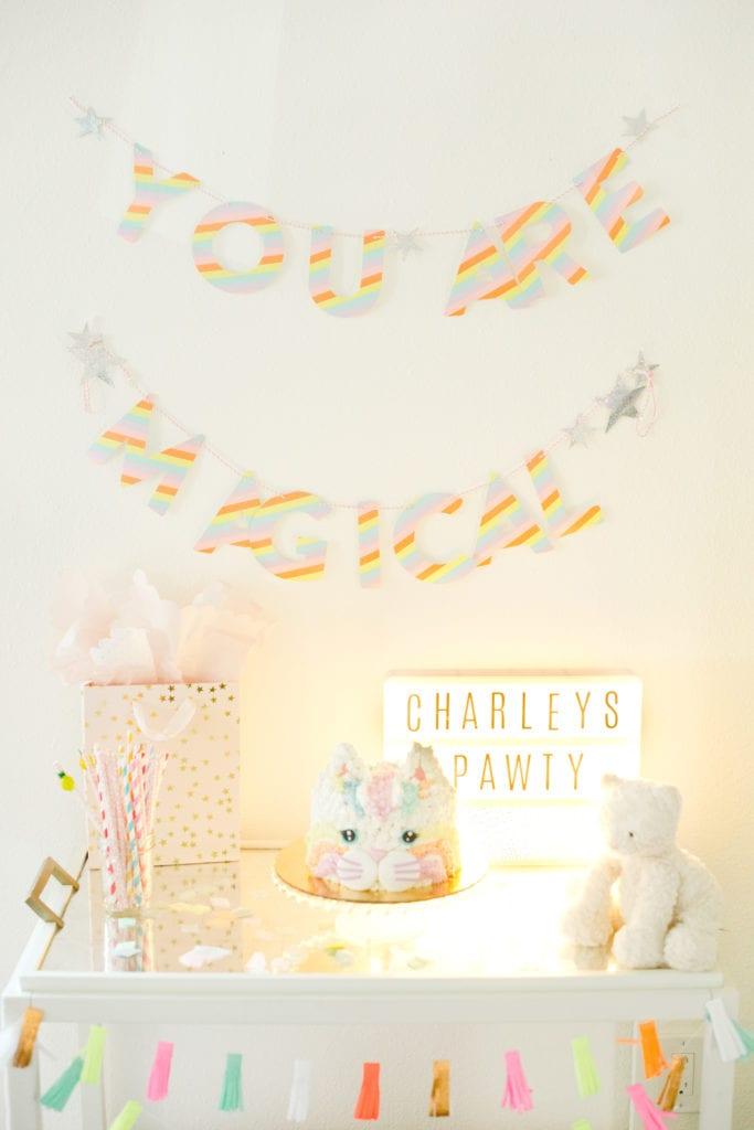 Rainbow Kitty Party - Cat Birthday Party - Modern Glam