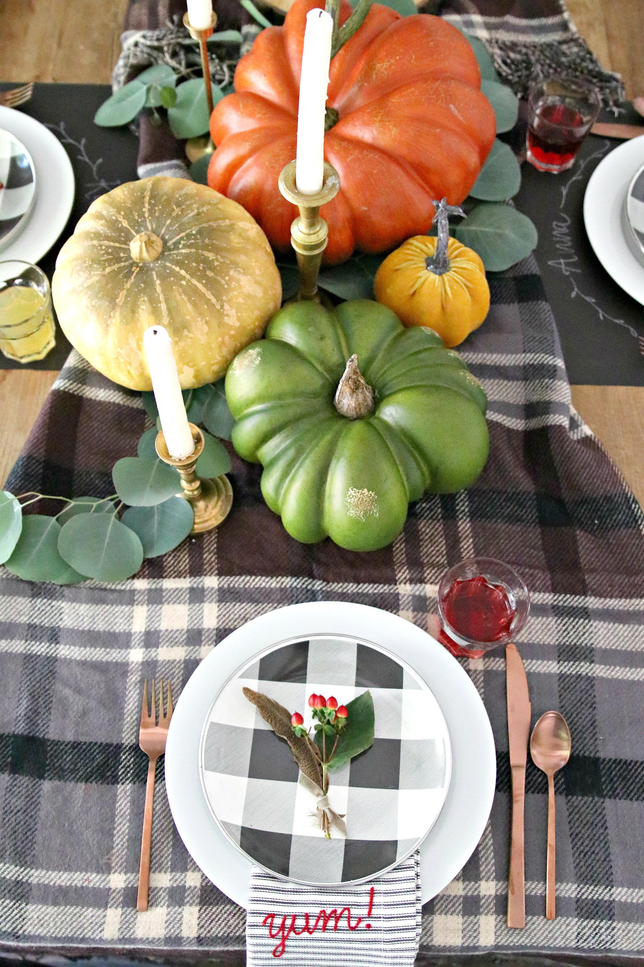 farmhouse fall plaid table