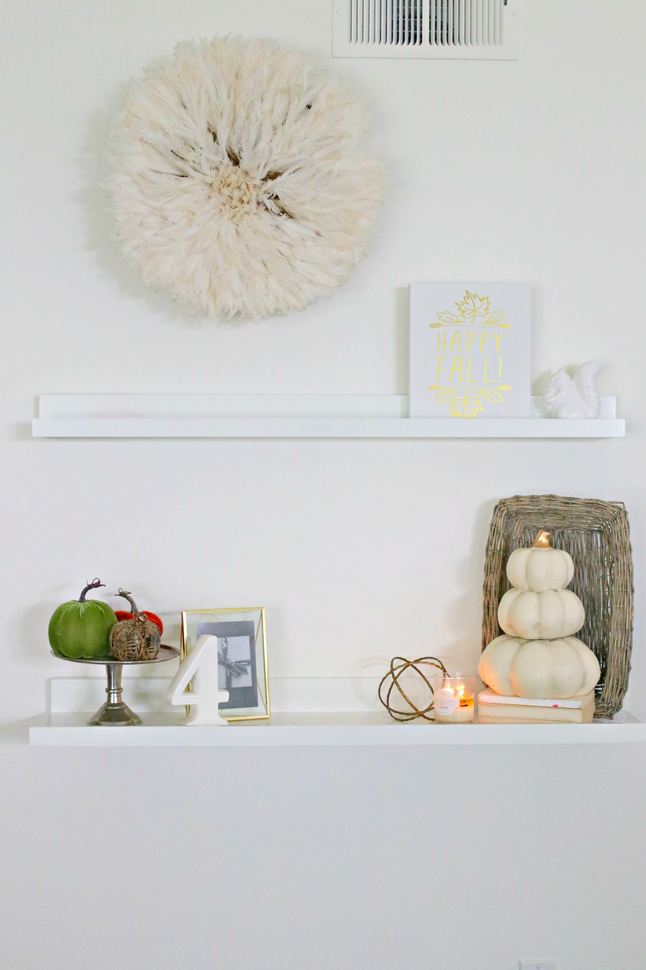 fall shelf styling, farmhouse