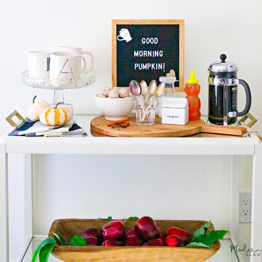 fall bar cart decorating idea