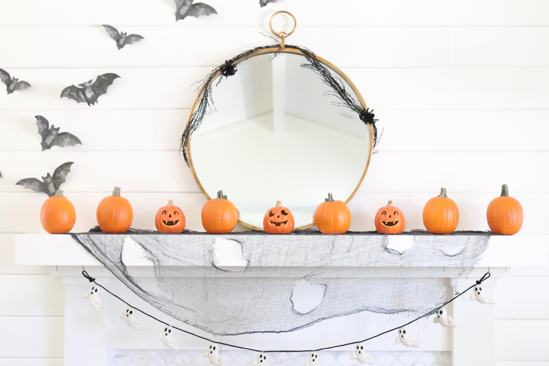Halloween Mantel Pumpkins