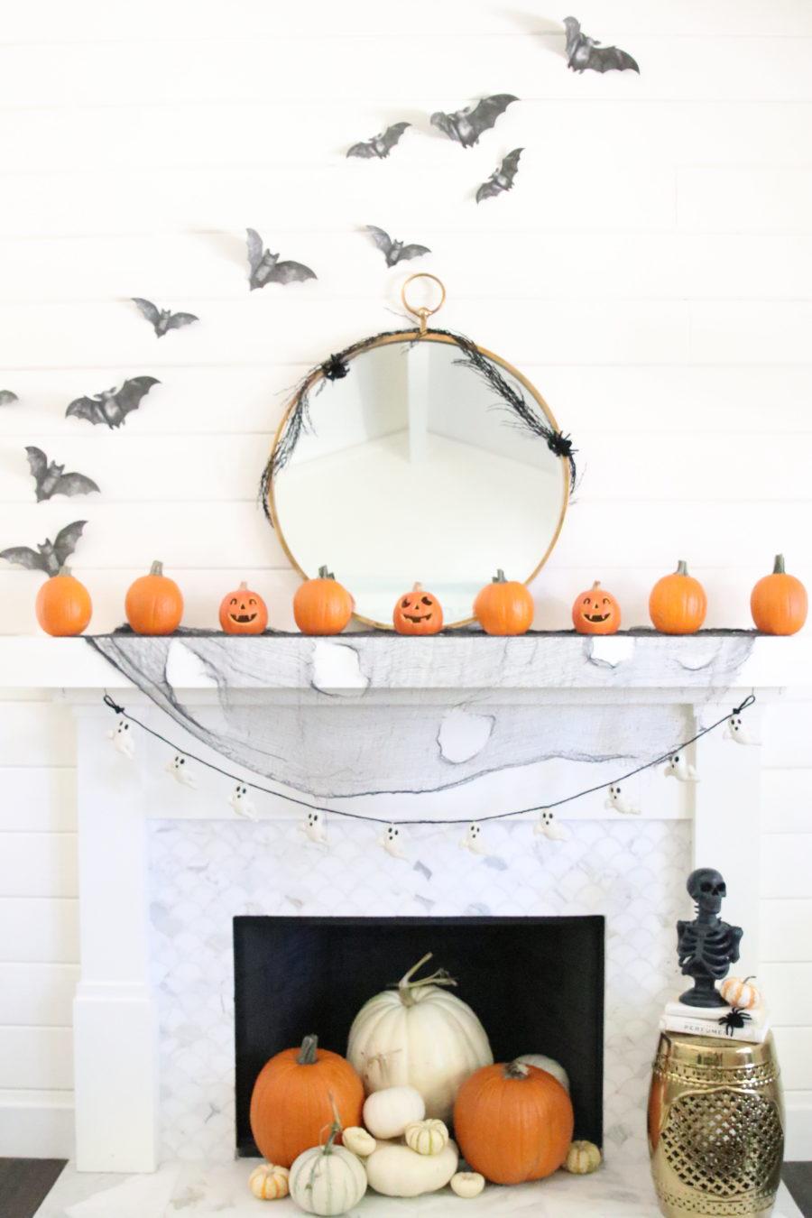 halloween spooky mantel