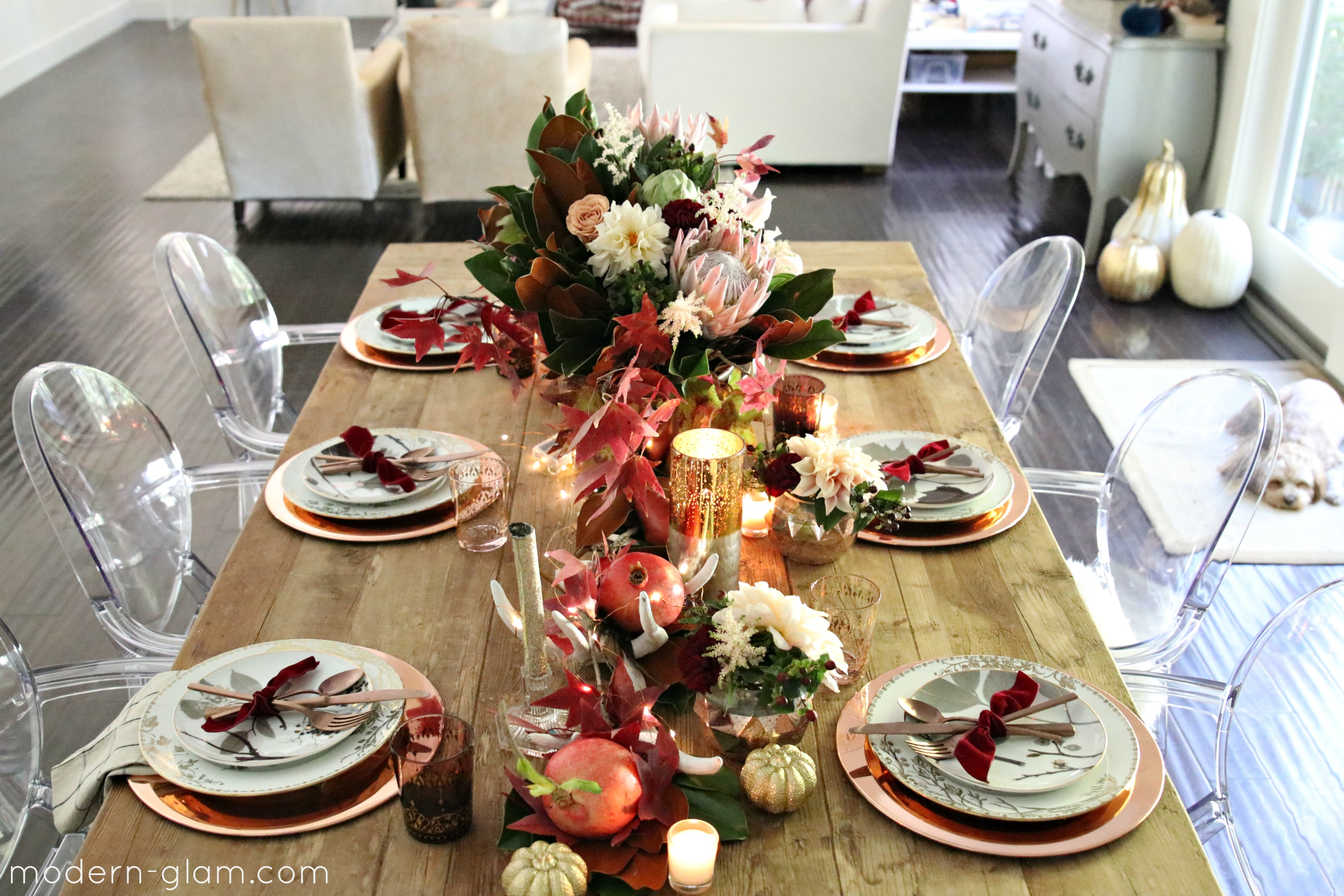 blush rose gold table