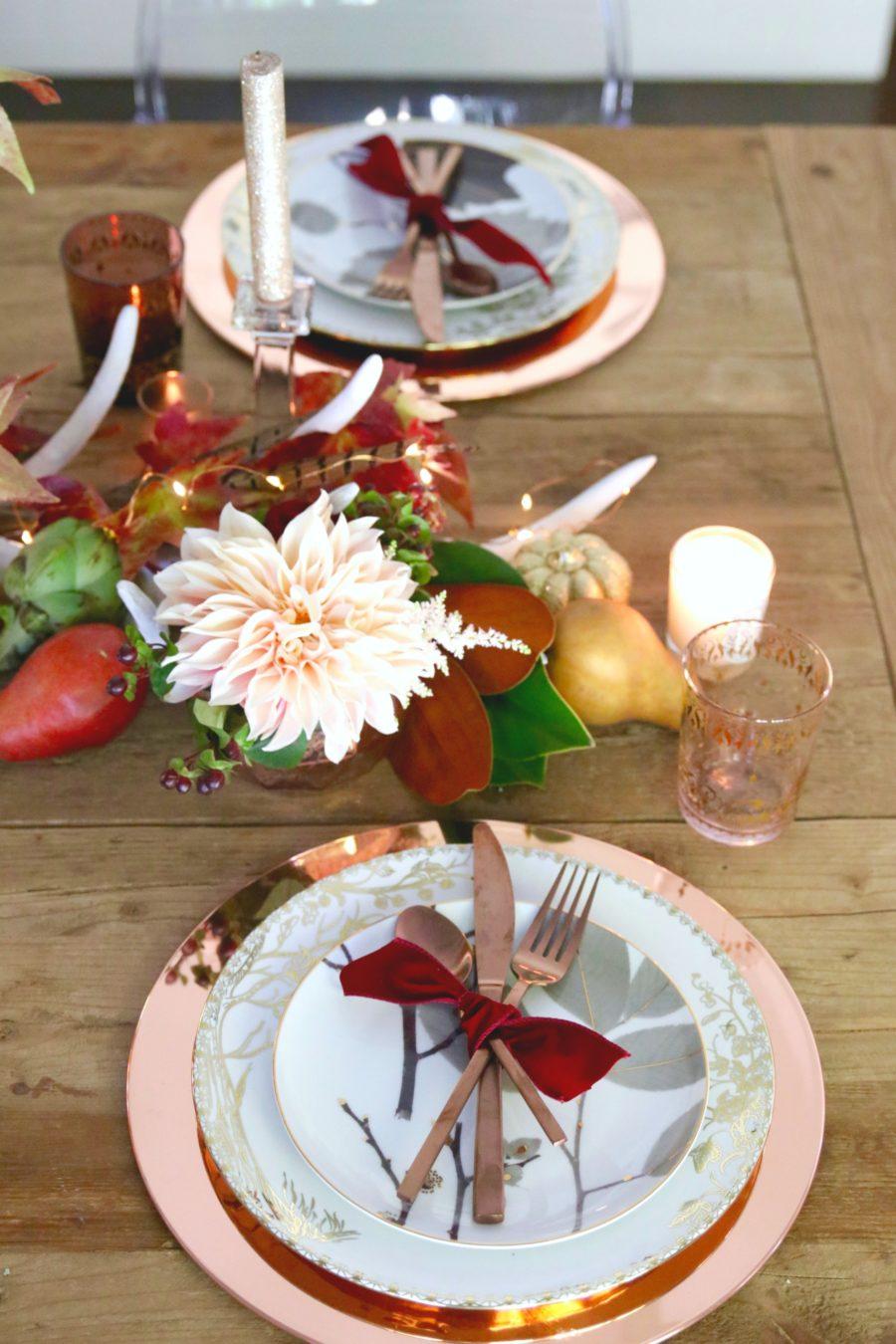 blush and rose gold thanksgiving