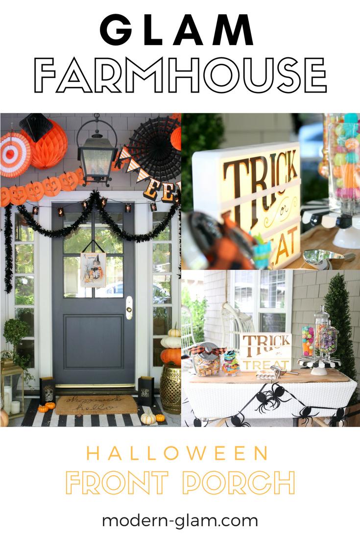 glam farmhouse halloween front porch