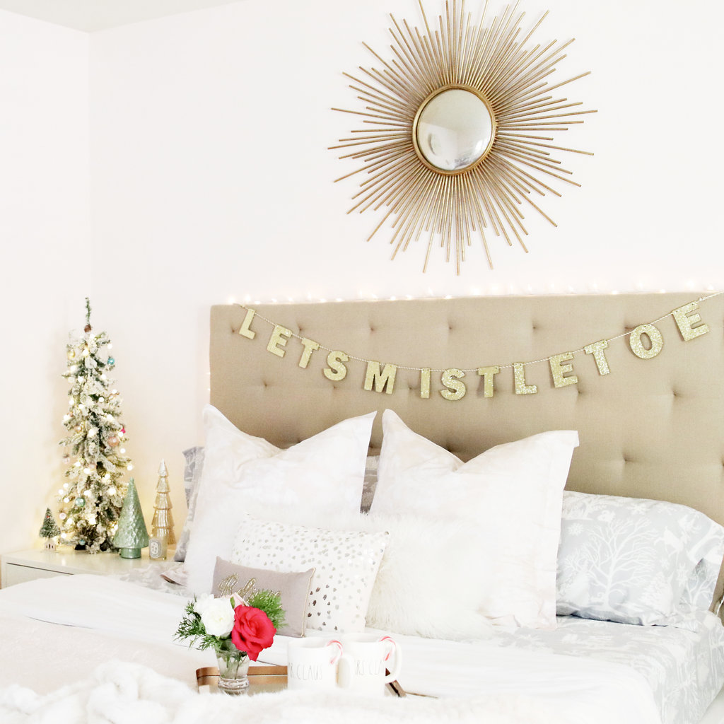 blush bedding with gold mirror