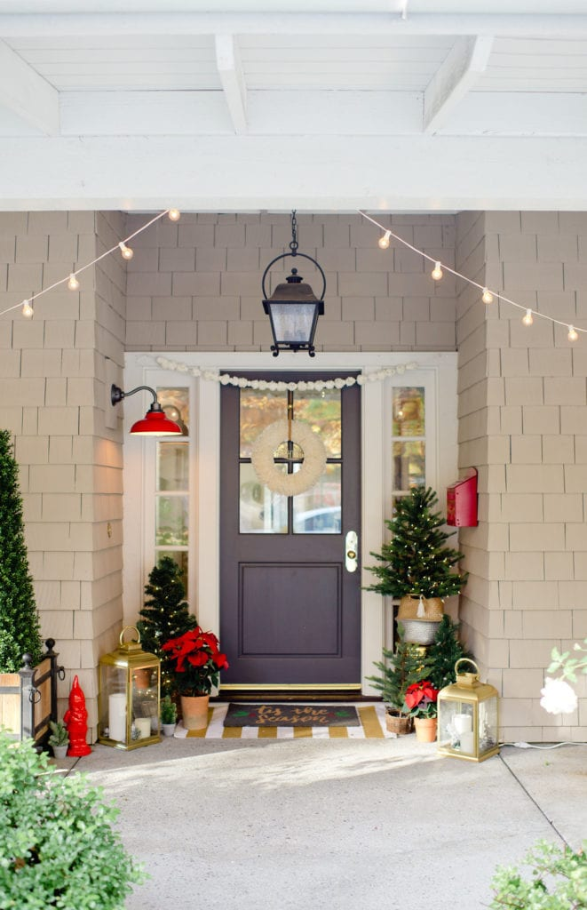 christmas front porch with lights