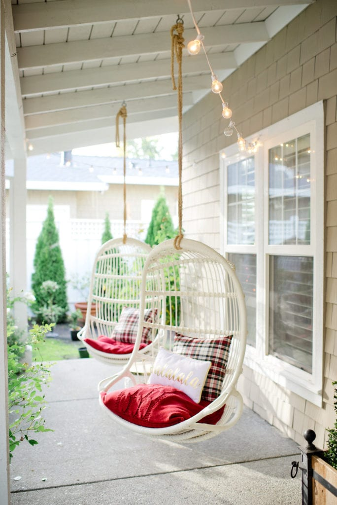hanging chairs on porch
