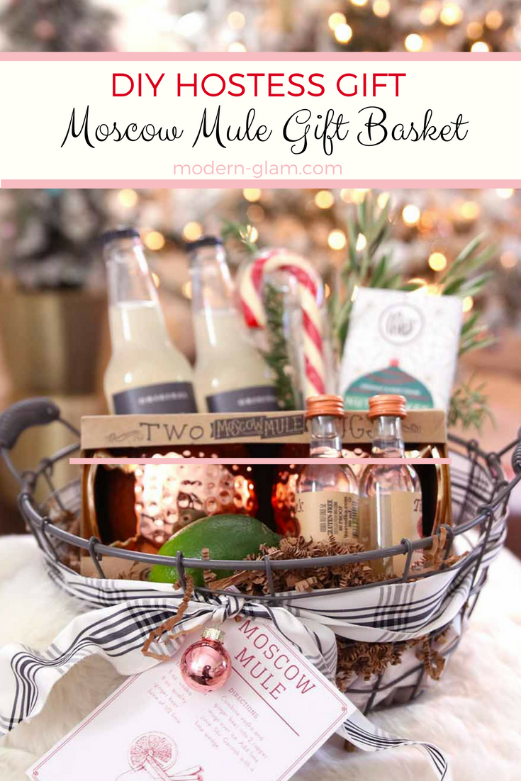 DIY Moscow Mule Gift Basket - the perfect hostess gift. Put together this easy and fun gift basket for your next dinner party invitation
