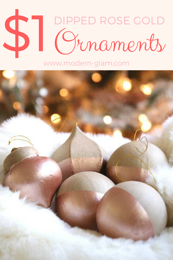 DIY $1 Rose Gold Dipped Ornaments. Easy Project. Christmas Craft.