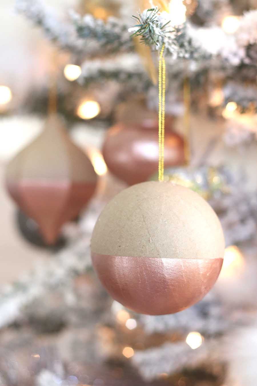 Easy project diy 1 rose gold dipped ornaments for Simple gold ornaments