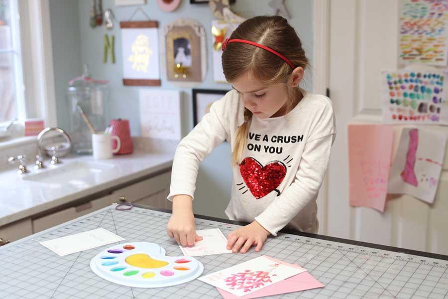 Kids Valentine's Day Thumbprint Art