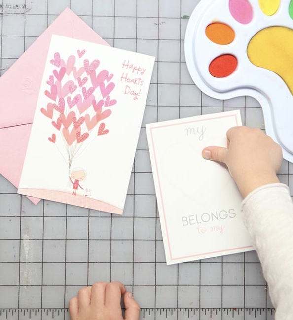 VAlentine's Day Kids Thumbprint Art with free printable