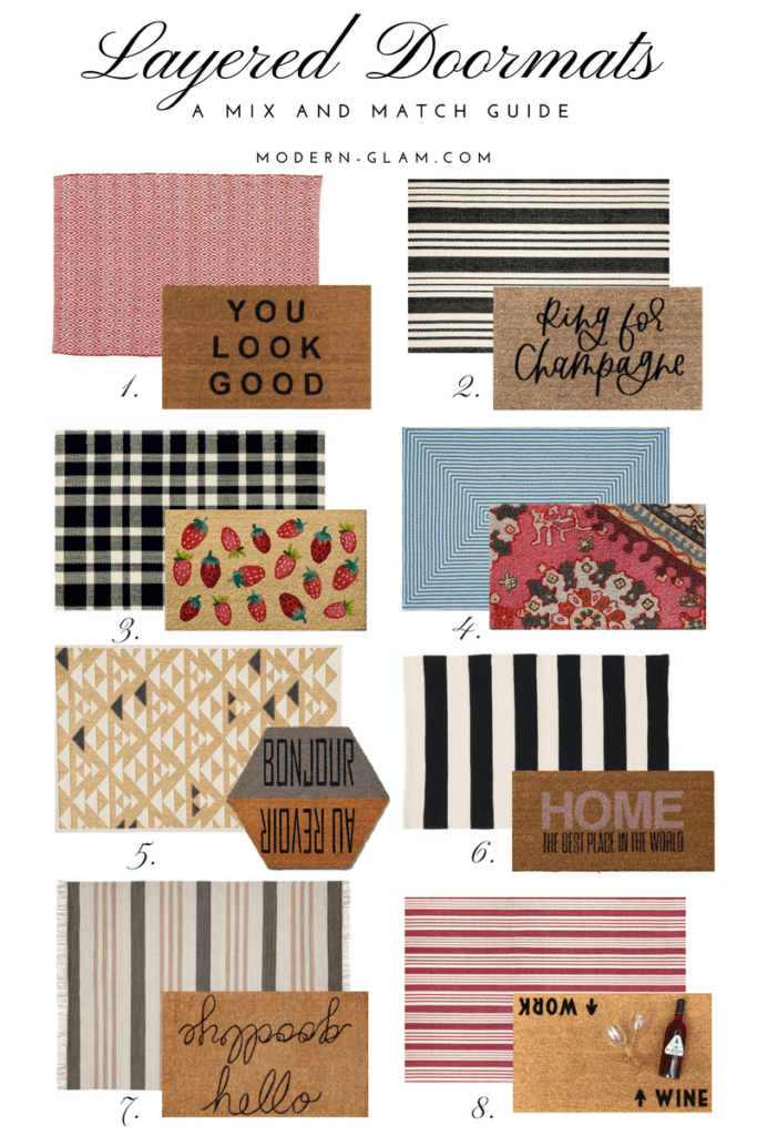 Layered Doormats - a mix and match guide. Front porch styling. Front porch decorating. Doormats and rugs.