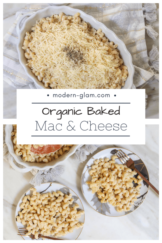 organic baked macaroni and cheese, easy one pot meal, mac & cheese baked. ready in under 25 minutes