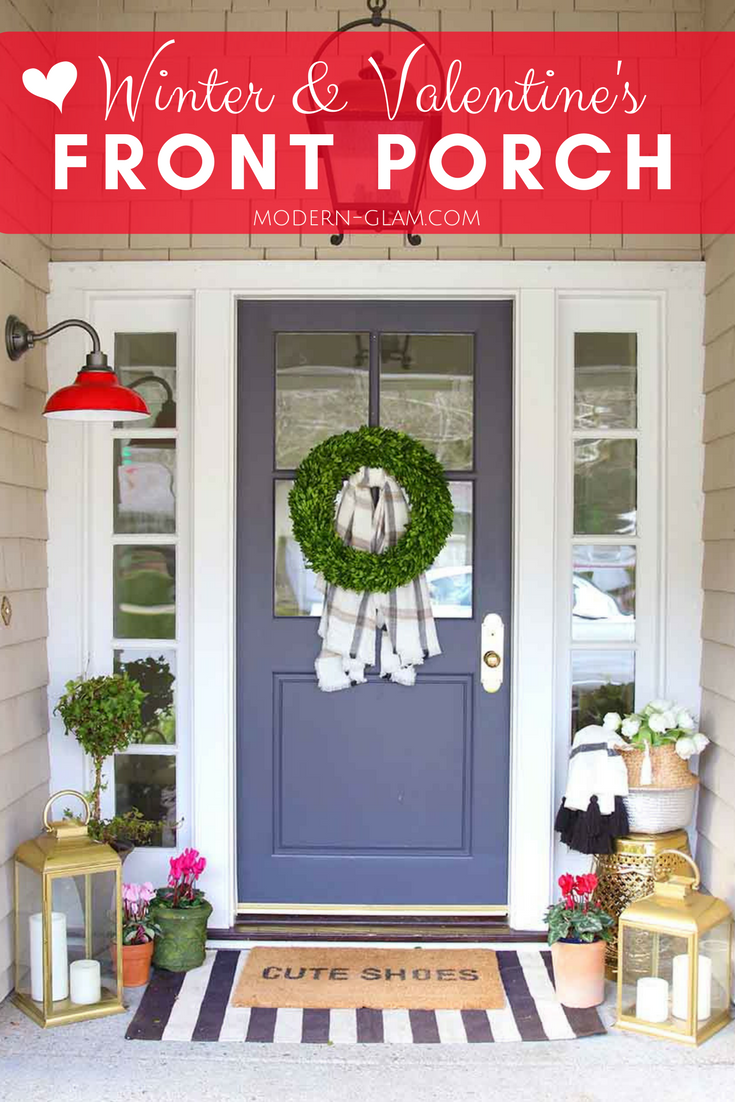 Valentine's Day and Winter Front Porch Decorations. And a Layered Doormat guide. Front Door Decor. Valentine's Day. Winter Decorating. Curb Appeal. Front Door Wreath.
