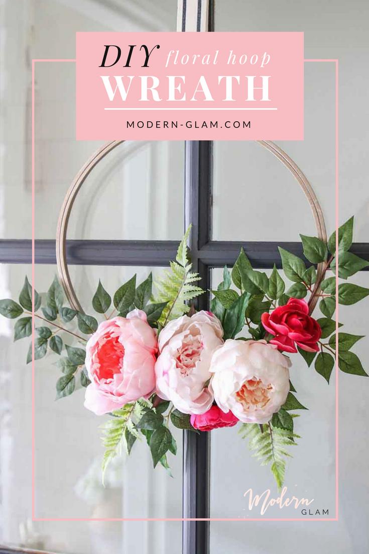 Modern Spring Floral Hoop Wreath Diy Modern Glam