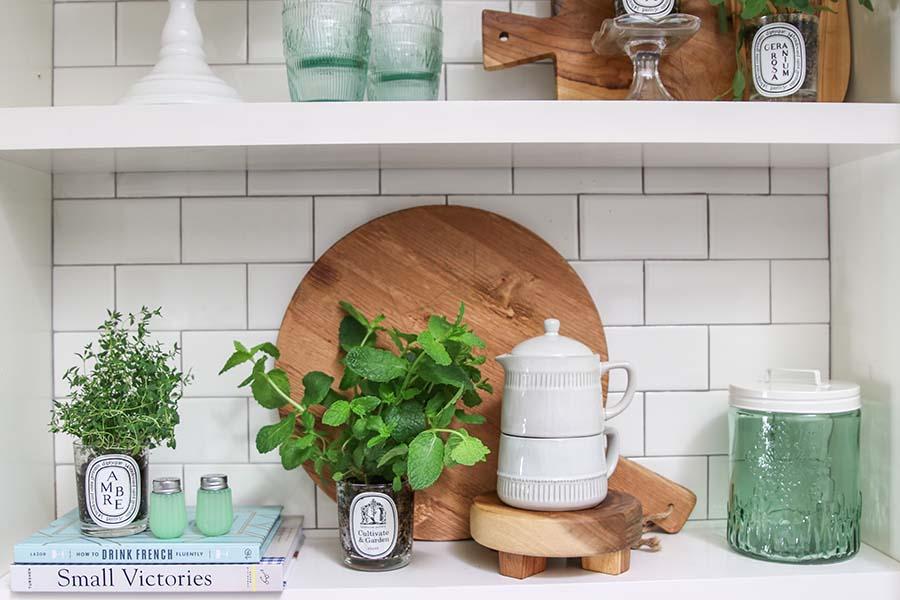 Planting an Indoor Herb Garden using chic candle jars as pots. #DIY #Repurpose #HerbGarden #Fashionablehome