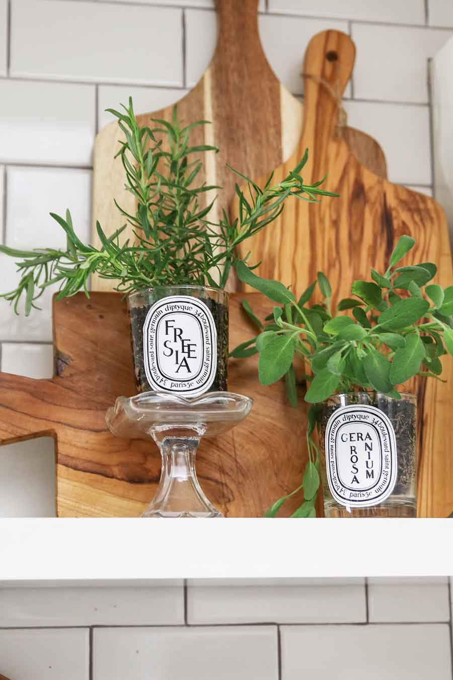 Indoor Herb Garden using repurposed candle jars