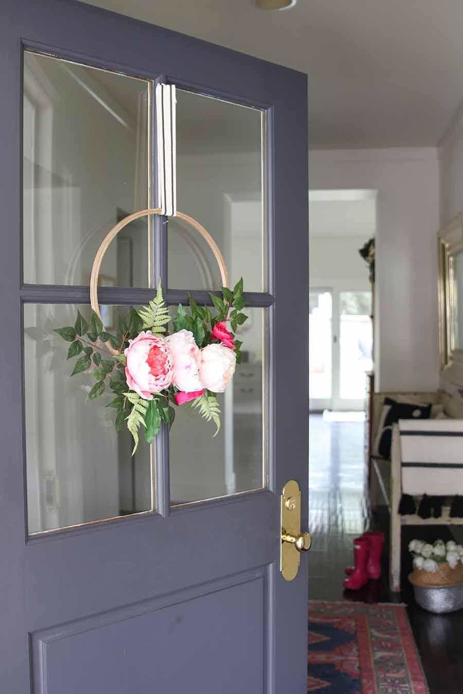 Modern Spring Floral Hoop Wreath