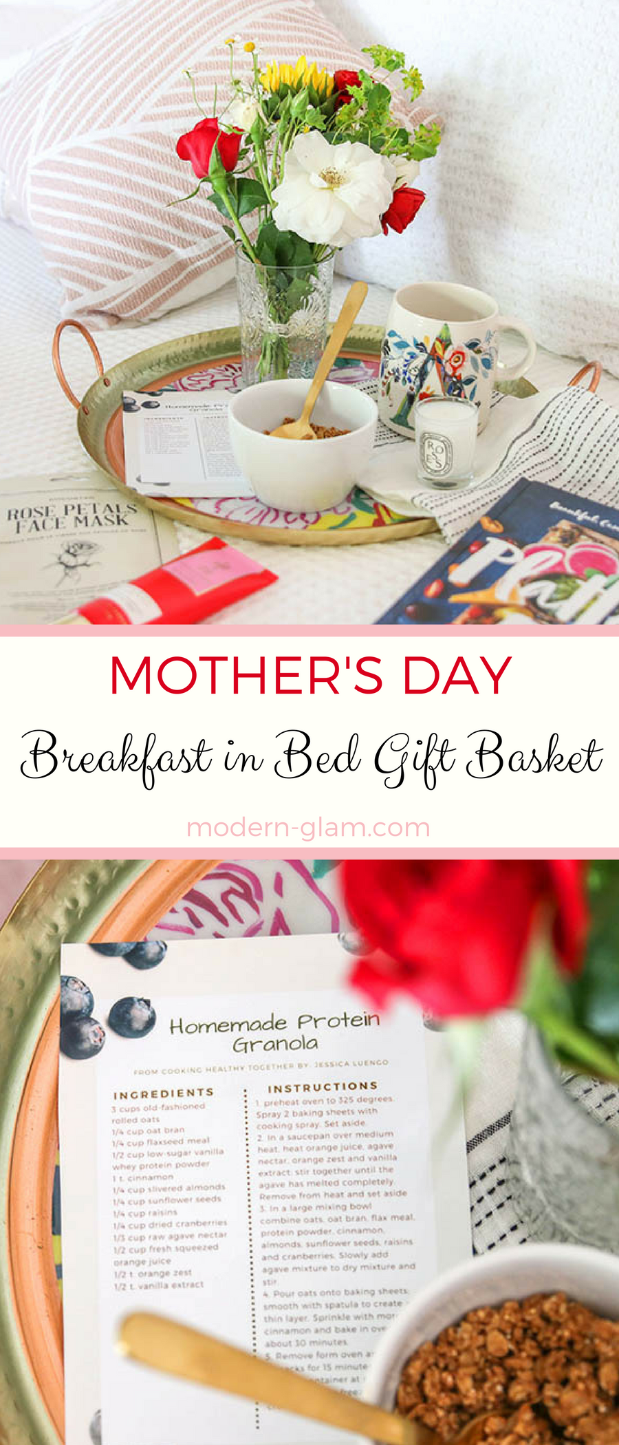 Mother's Day Breakfast in Bed Gift Basket plus a recipe for Homemade Protein Granola. #giftbasketideas #mothersday #mothersdaygifts #homemadegranola #healthygranola #proteingranola #healthyrecipes