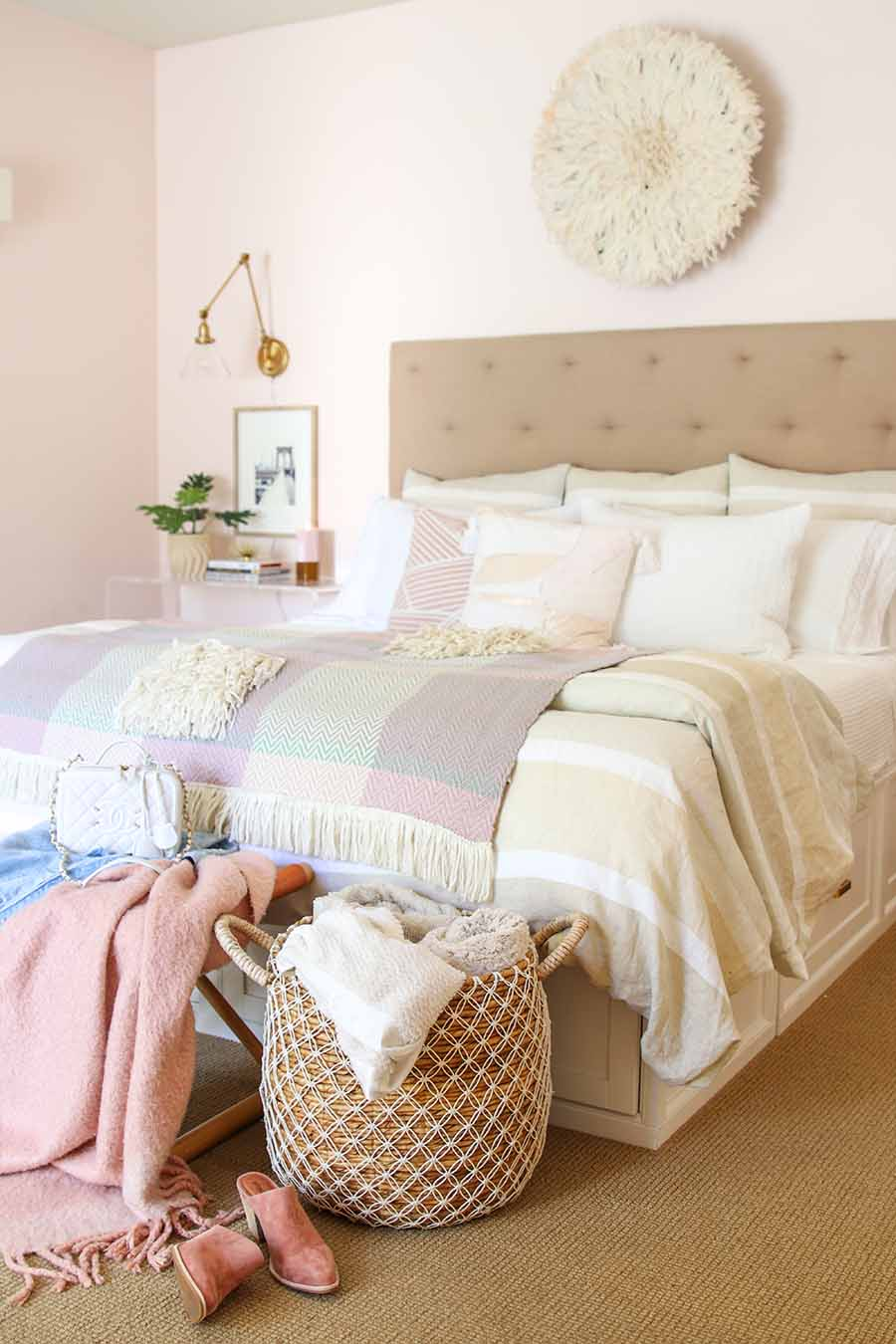 Beautiful Bedrooms Tour - My Pink Coastal Retreat. Pink bedrooms. Master Bedroom Style, Coastal Bedroom, Modern Boho Bedroom
