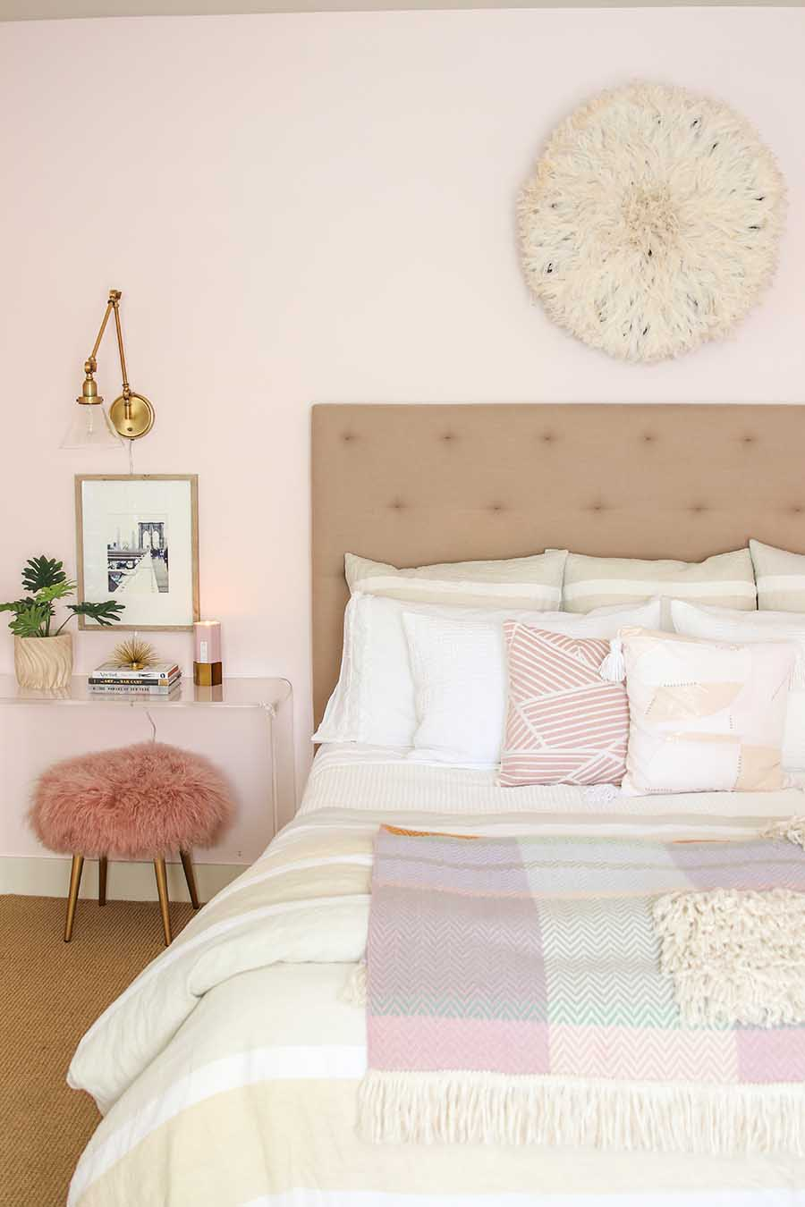 Beautiful Bedrooms Tour - A Feminine Coastal Master Retreat. Pink Bedroom. Modern Boho Bedroom