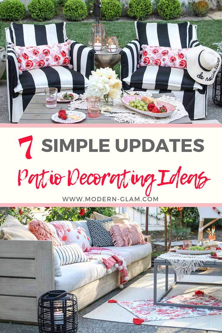 Patio Decorating Ideas: 7 Simple Summer Updates - Modern Glam on Backyard Deck Decor id=41223