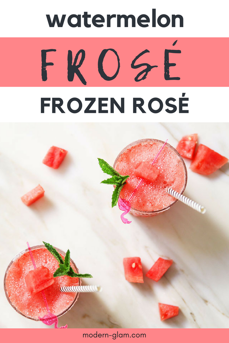 Watermelon Frozen Rosé, Frosé, Easy Summer Cocktail recipe. 3 Ingredients recipe. Simple cocktail recipe