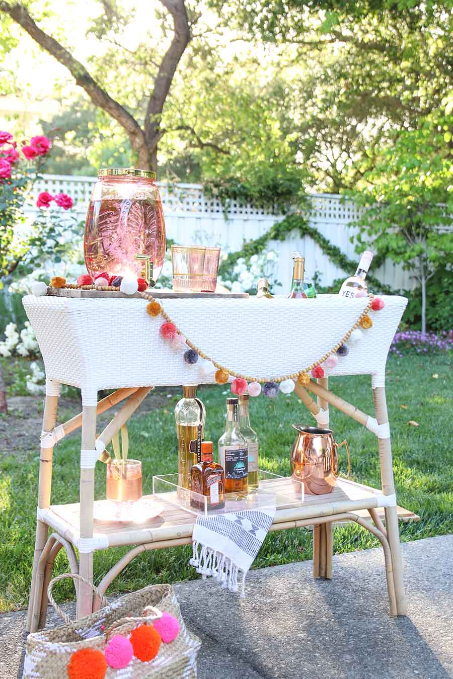 Summer Bar Cart. Summer Entertaining Ideas