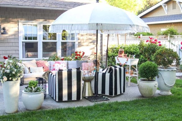 Modern Farmhouse Home Tour black and white striped patio furniture