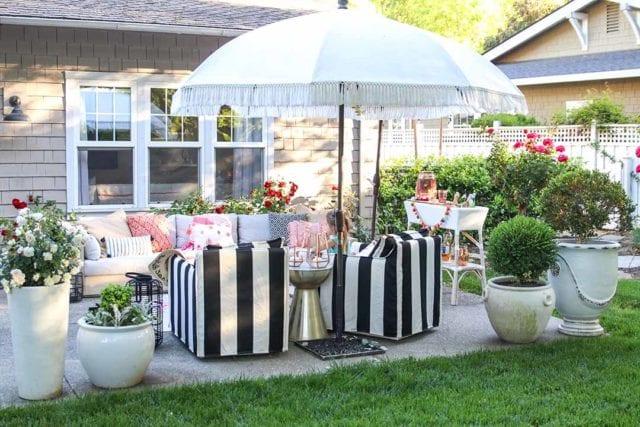 Modern Farmhouse Home Tour black and white striped patio furniture