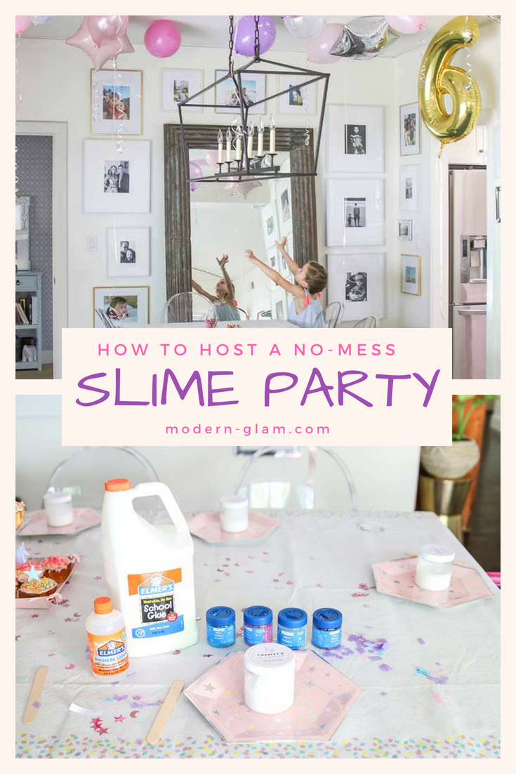 Slime Party. How to host a mess-free slime party. Step by step instructions and tips for the throwing the best birthday party ever! Summer activity for the kids. Summer party. Kids Birthday Party