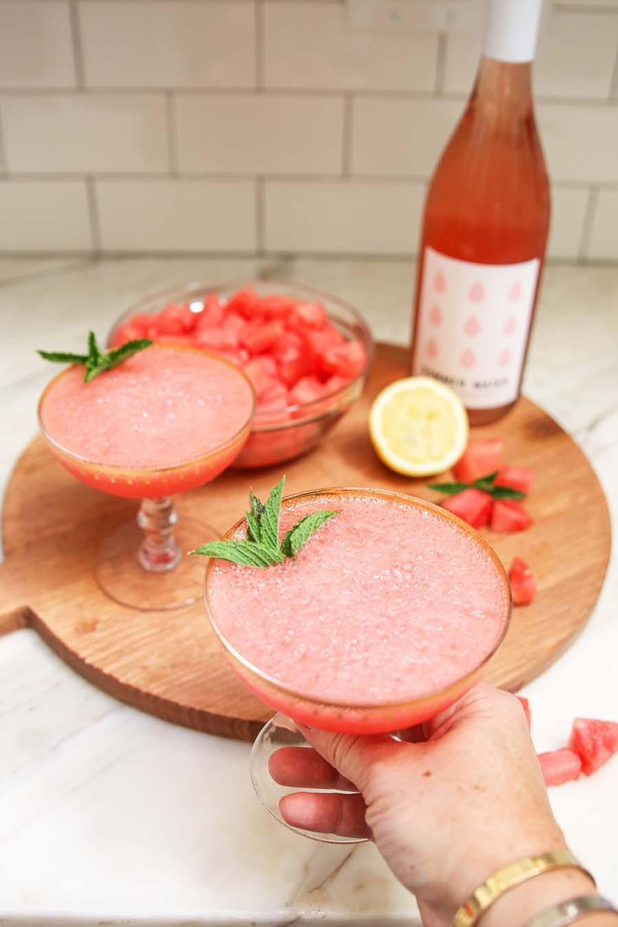 Watermelon Frozen Rosé, Frosé, Summer cocktail, Watermelon cocktail