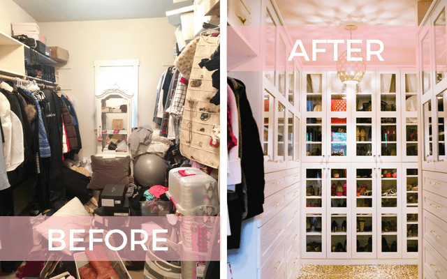 before and after walk in closet remodel
