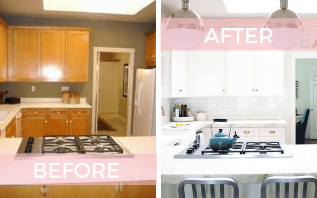 Before and after white kitchen