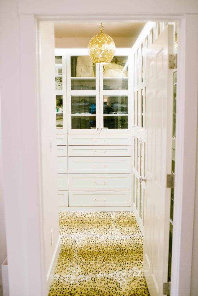 walk in closet with leopard carpet