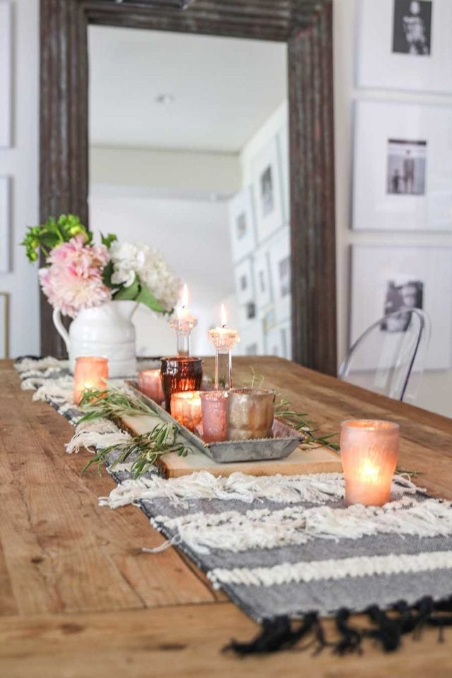 tablescape with olive branches and votives