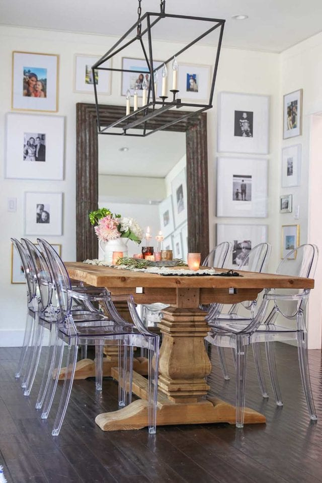 farmhouse table with ghost chairs