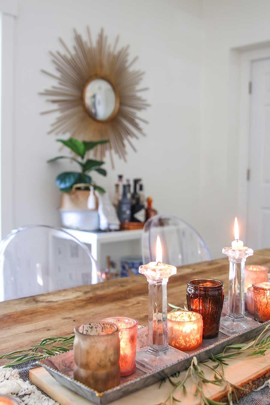 Wood table with votives