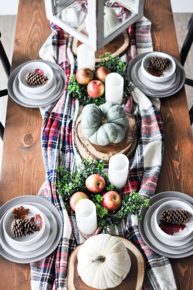 fall table with plaid