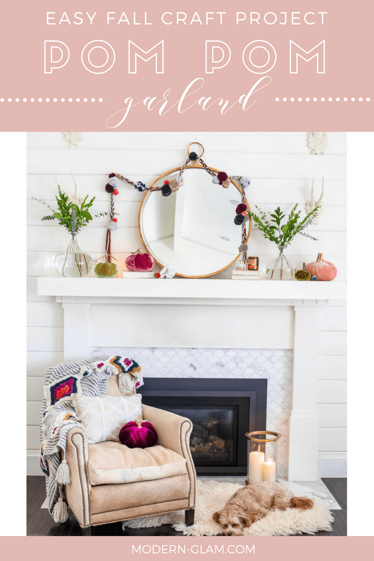 Easy Fall Craft Project Pom Pom Garland Modern Glam