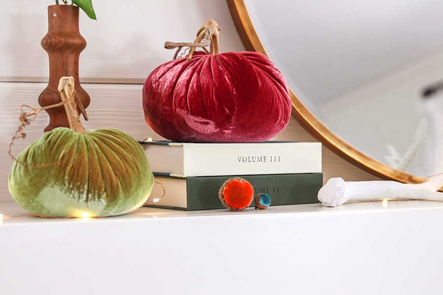 Early Fall Mantel Decor including velvet pumpkins