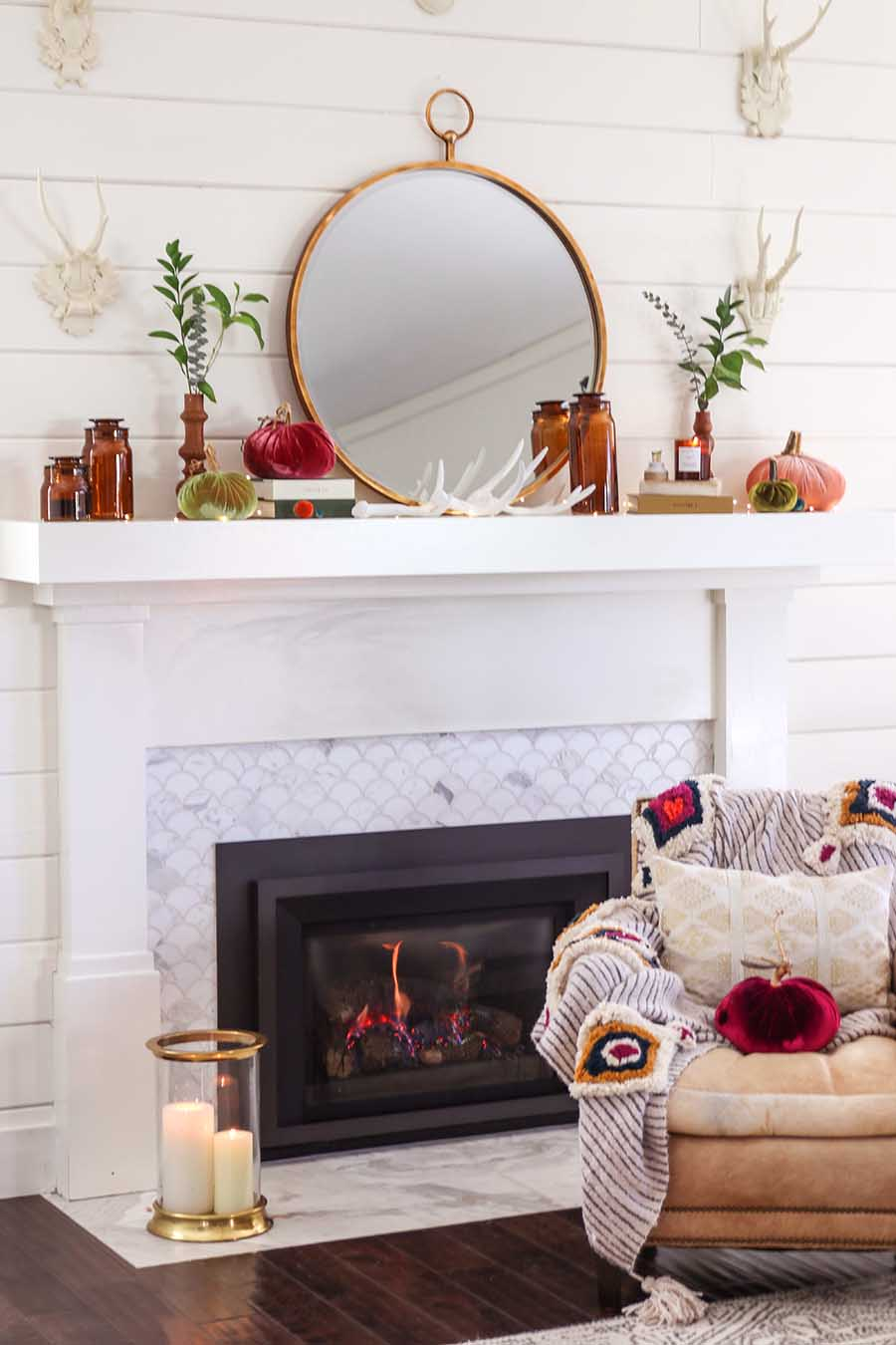Early Fall Mantel Decorating
