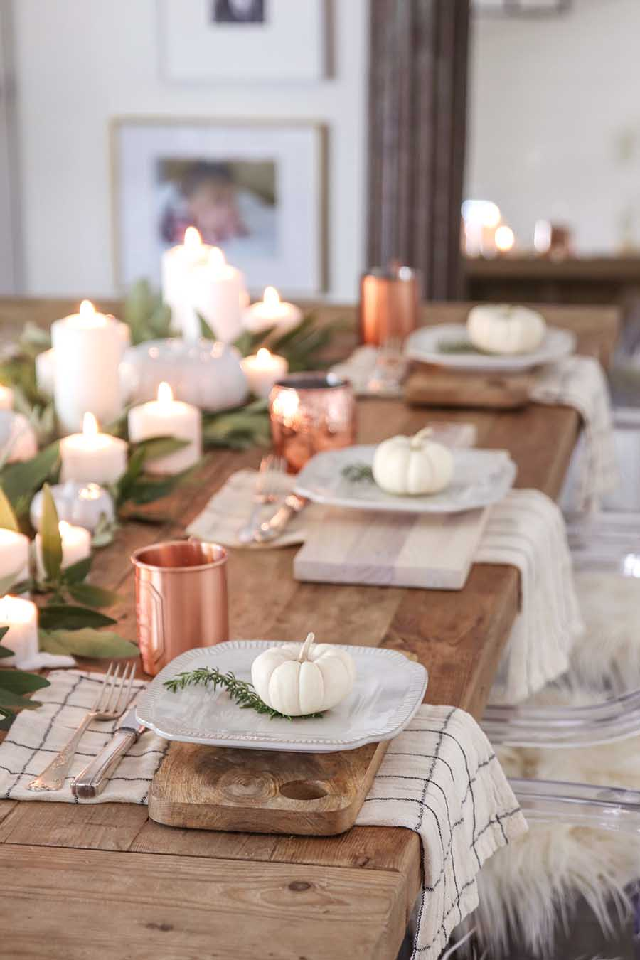 Fall tablescape with white pumpkins