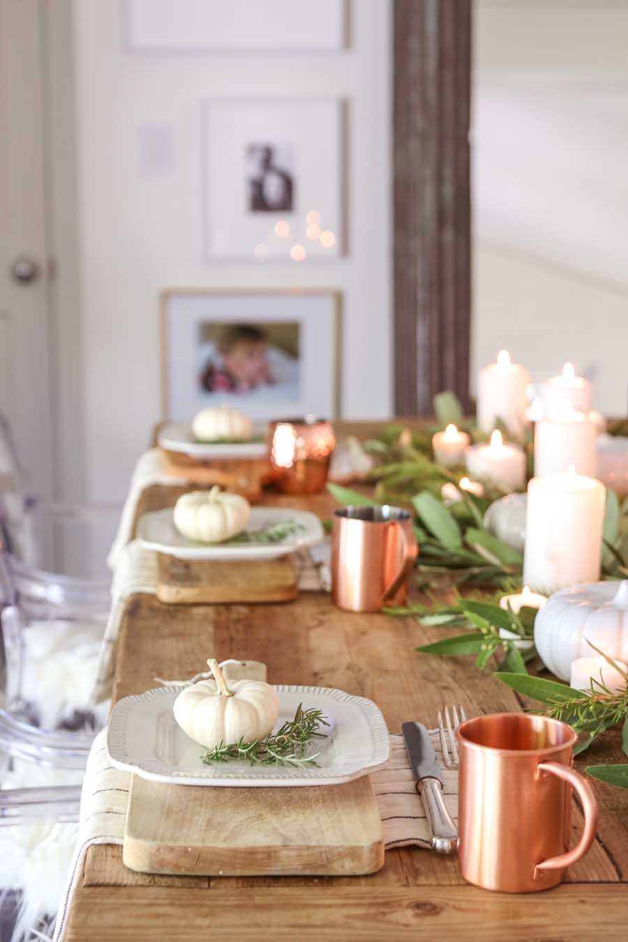 fall farmhouse table with pumpkins