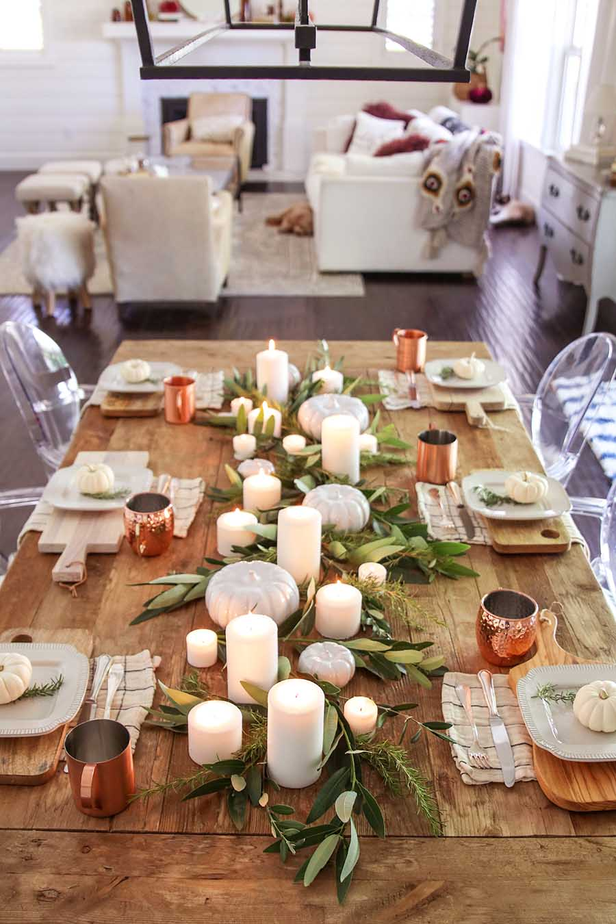 Modern Farmhouse Fall Dining Room Decor - Fall Home Tour