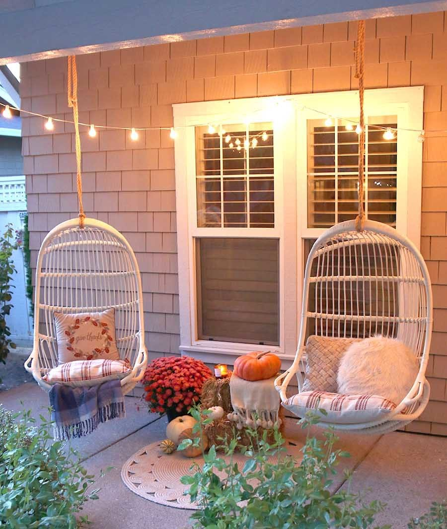 cozy fall porch at night