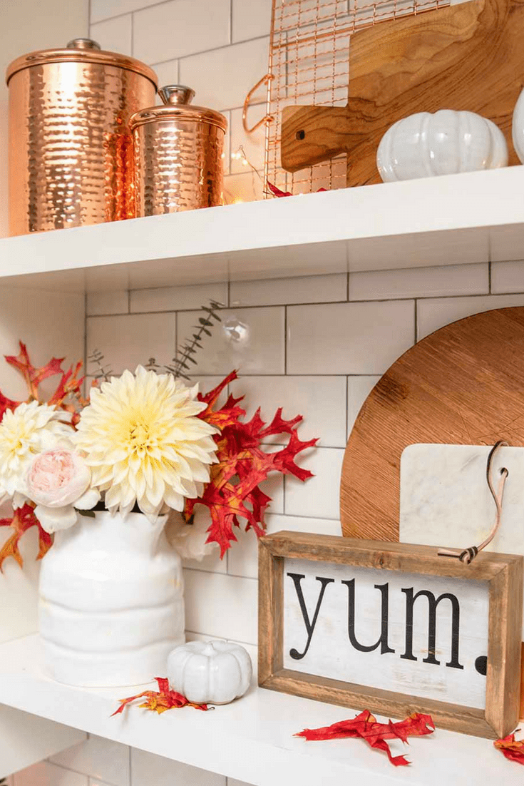 kitchen shelves styled for fall